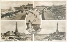 Postcard posted 1939  Blackpool 4 view Real photo