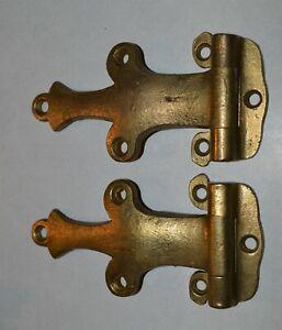 Pair Antique Cast Brass Ice Box Hinges Hardware Trunks Furniture etc