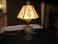VINTAGE GLASS OIL LAMP CONVERTED ELECTRIC WITH SHADE