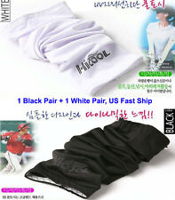 Hi Cool Cooling arm sleeves Sun Protective UV Cover 2 X Pairs Black & White US