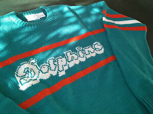 NWT MIAMI DOLPHINS BRAND SWEATER NFL SIZE MED. BY CLIFF ENGLE (VINTAGE LAST ONE)