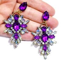 Chandelier Earrings Purple Rhinestone Crystal 2.8 in