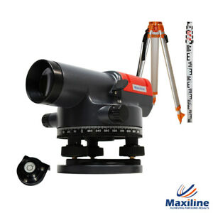Maxiline AT32 x Automatic Dumpy Level + Tripod and Staff Rotary Rotating Base