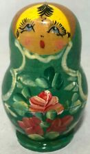 5 Russian Nesting Dolls Babushka Matryoshka Hand Painted Wooden Dolls Green