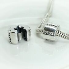 DECORATIVE ribbed clip-Hinged stopper/Lock- Solid 925 sterling silver charm bead