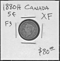 CANADA - BEAUTIFUL HISTORICAL QV SILVER 5 CENTS, OBVERSE # 3 - 1880 H  KM# 2