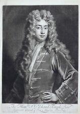 G. KNELLER SIR RICHARD TEMPLE MEZZOTINT SCHABKUNST PORTRÄT JOHN SIMON UM 1710