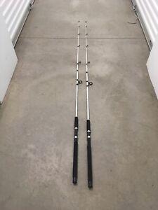 2 Shakespeare Tiger Spinning Rods 7' Fresh/Saltwater Catfish/Trolling Med BLACK