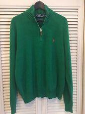 Vintage Polo Ralph Lauren Pima Cotton 1/2 Zip Knit Sweater Orange Pony XL Men's