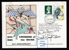 Great Britain #884/#Mh30 Special Parachute Deliv Cvr Crossing Rhine 1980 Signed