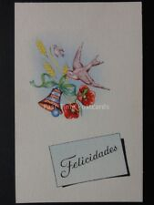 Christmas Poppies Postcard: FELICIDADES - by PD made in Spain No.1011