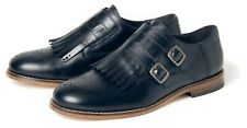 Ladies Size UK 8 Eu 41 H by Hudson Leather BLACK ALVA Monk Shoe BROGUE £125 US10