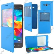 Housse Coque Etui S-View Flip Cover Bleu Samsung Galaxy Grand Prime G530F G530FZ