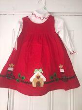 SOPHIE ROSE SZ 18m Christmas Appliqué Corduroy DRESS Jumper WHITE TURTLENECK 2PC