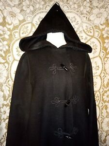 Vintage russian princess black hooded long coat - Ditsy 8 10 12 :GL steampunk