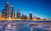 CHICAGO SKYLINE WINTER NEW A3 CANVAS GICLEE ART PRINT POSTER