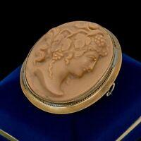 Antique Vintage Art Nouveau 14k Gold Filled GF Lava Rock Cameo Pin Brooch 24.1g