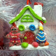Gingerbread Girl House w/ Gumdrop Christmas tree ornament, Iced Candy roof