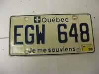 1990 90 Quebec Canada License Plate EGW 648