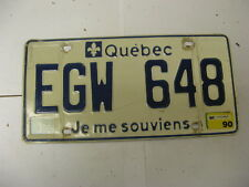 1990 90 Quebec Canada License Plate EGW 648