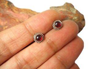 Round Red GARNET Gemstone Sterling  Silver 925 Stud Earrings - 5 mm