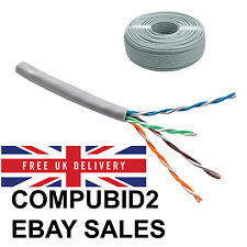 NEW REEL RJ45 CCA ETHERNET CABLE BARE END NETWORK LAN SOLID UTP CAT5E GREY 100M