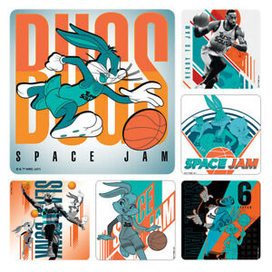 Space Jam Stickers x 6 - Birthday Party Supplies Favours - Le Bron Looney Tunes