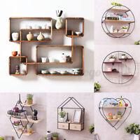 3 Layers Vintage Home Wall Unit Wood Metal Industrial Shelf Storage Holder