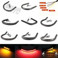 Motorcycle Rear Seat Frame Hoop w/LED Brake Tail Light Turn Signals Universal