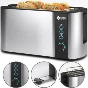 Balter 4 Scheiben Toaster Langschlitz Edelstahl mit Brötchenaufsatz 1500W