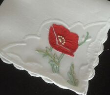 VINTAGE MADEIRA TEACLOTH & 4 NAPKINS HAND EMBROIDERED POPPIES UU287