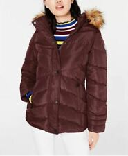 Madden Girl Juniors' Hooded Faux-Fur-Trim Puffer Coat Merlot Size Large