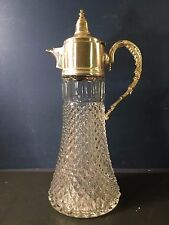VINTAGE DIAMOND PRESSED GLASS WATER WINE PITCHER W. SILVER PLATE LID AND HANDLE,