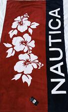 NAUTICA BEACH TOWEL BLUE RED FLOWERS LOGO SAILING NWT