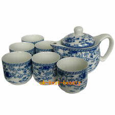 Blue and White Ceramic Tea Sets Kung Fu Porcelain Tea Cup Large Size Teapot 7pcs