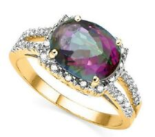 PREOWNED  2 1/2 CT  MYSTIC GEMSTONE & 1/4 CT DIAMOND 10KT SOLID GOLD RING