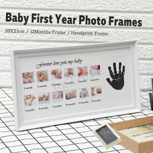 Baby My First Year Photo Frame Newborn 12 Months Standing Footprint