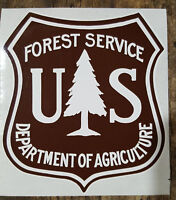U.S. US UNITED STATES FOREST SERVICE BROWN AND WHITE DECALS STICKERS 4 INCHES