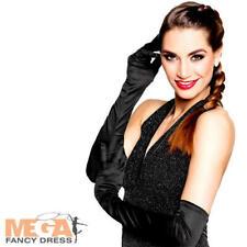 Long Black Gloves Ladies Fancy Dress Burlesque 20s Halloween Adults Costume Acc