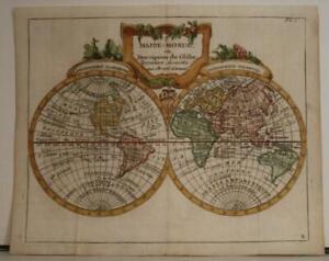 1786 JOSEPH DE LA PORTE SCARCE ANTIQUE COPPER ENGRAVED TWO HEMISPHERES WORLD MAP