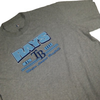 Tampa Bay Rays Men Extra Large TShirt Gray Short Sleeve MLB Baseball 03P