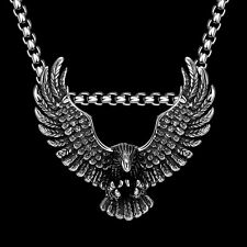 "Eagle 4MM 24"" Men Stainless Steel Necklace Pendant Chain Link Jewelry Charm Bib"