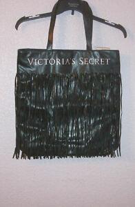 NWT VICTORIA'S SECRET Black FRINGE Tote HANDBAG Boho SHOULDER Faux Leather XL