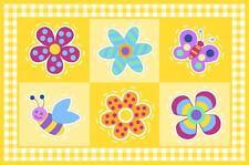 "Fun Rugs  FLOWERLAND 19"" X 29"" butterflies flower bee FAST FREE SHIPPING NWT"
