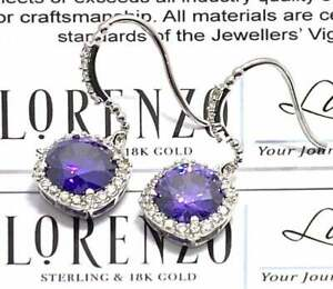 Authentic Lorenzo .925 Sterling Silver, 12.15ctw Amethyst & White Topaz Earrings