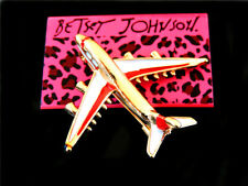 Charm Woman Brooch Pin Betsey Johnson Red Enamel Plane
