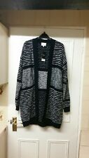 LOVELY NEXT NAVY BLUE AND CREAM CHUNKY KNIT LONG CARDIGAN/COATIGAN SIZE S 8-10