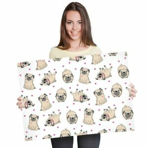 A1 - Cute Cartoon Pug Dogs Love Hearts Poster 60X90cm180gsm Print #8125