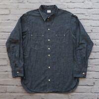 Sunset Levis Vintage Clothing LVC L/S Chambray Work Shirt Size XL Navy