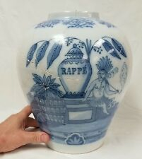 Antique Signed Delft Tobacco Jar RAPPE' Blue & White Indians